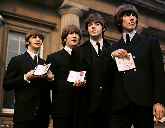 Spirit: Paul said that George (pictured on the far right with Paul, John Lennon, and Ringo Starr) had given him the fir tree as a gift before his death in 2001, and
