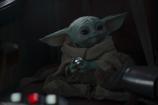 Baby Yoda listens to music on Mandalorian set