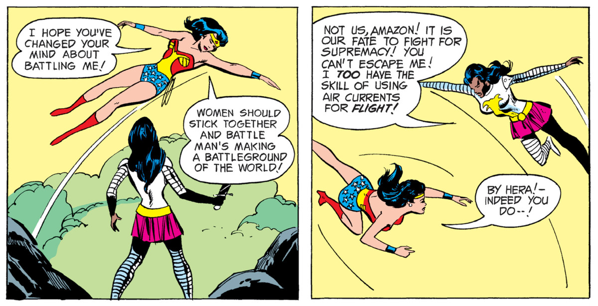 Wonder Woman and Nubia fly in the air around each other in Wonder Woman # 206, DC Comics (1973).