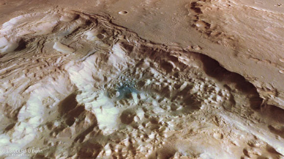 View a perspective of the chaotic terrain of Pyrrhae Regio, Mars.  Photo credit: ESA / DLR / FU Berlin / CC BY-SA 3.0 IGO.