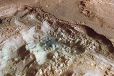 Perspective view of chaotic terrain in Pyrrhae Regio, Mars. Image credit: ESA / DLR / FU Berlin / CC BY-SA 3.0 IGO.