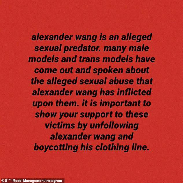 'Sexual predator': On December 28, the agency's S *** Model Management account shared eight anonymous quotes from victims who claimed Wang drugged them with MDMA, groped them and raped them.
