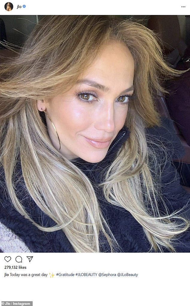 Come and get it: The singer has been promoting the JLo Beauty line that just launched at Sephora