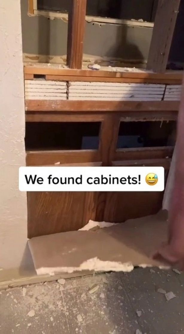 Look inside the wall where the cabinets are