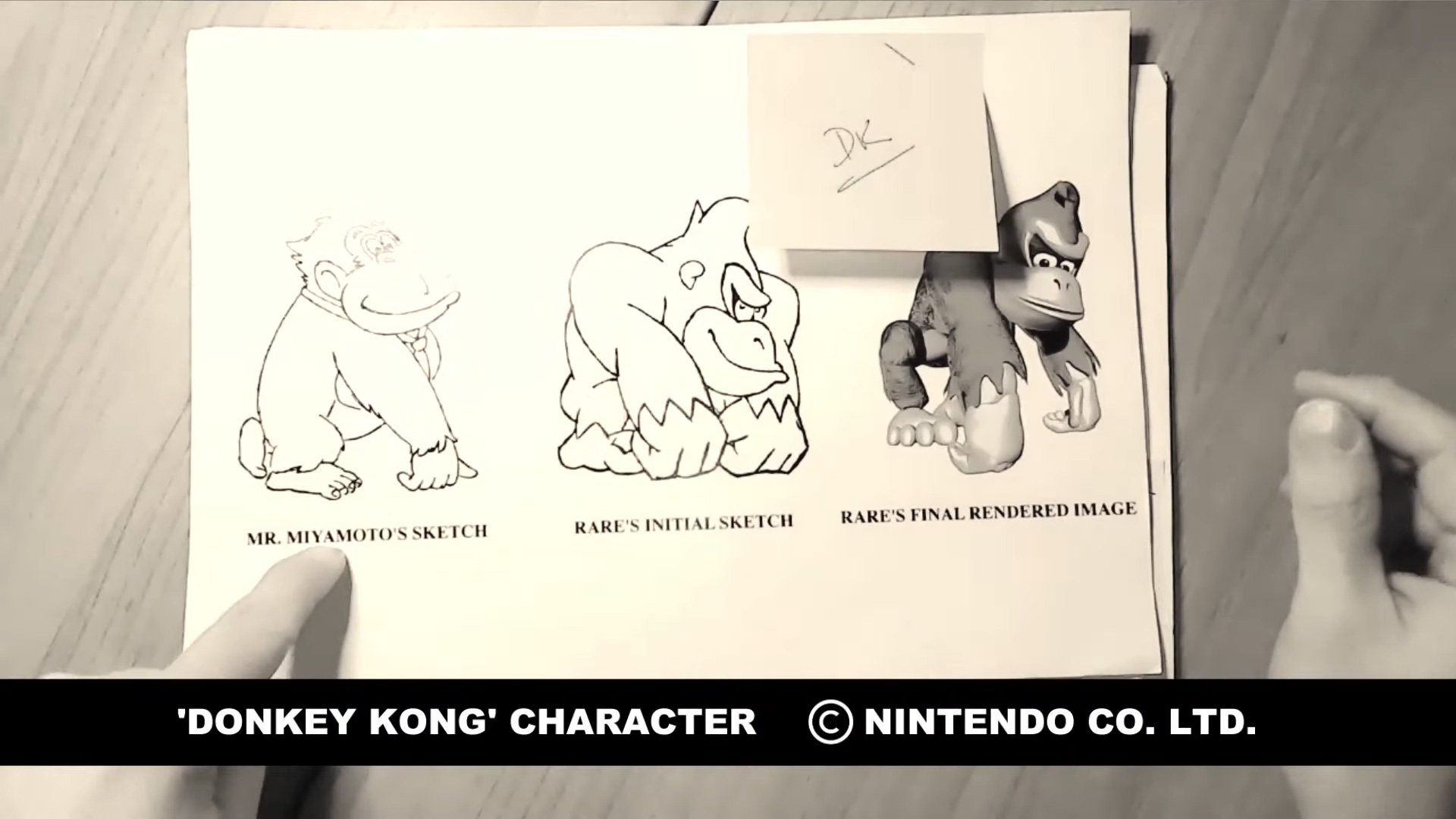 Donkey Kong artist Kevin Baylis pulled old character sketches for show and tell