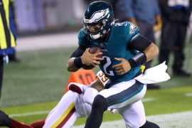 Galen Hurts of the Philadelphia Eagles scored two quick goals in the first half against Washington